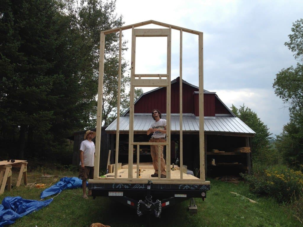 The first tiny house wall goes up