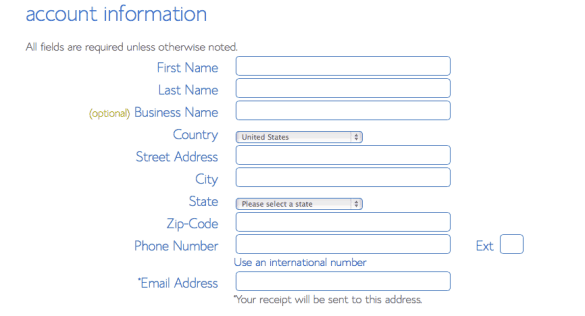 Enter account information