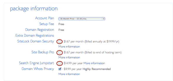 Bluehost Package Options